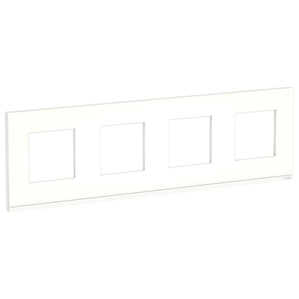 UNICA PURE рамка 4-п,гор, мат.стекло/бел /NU600889/