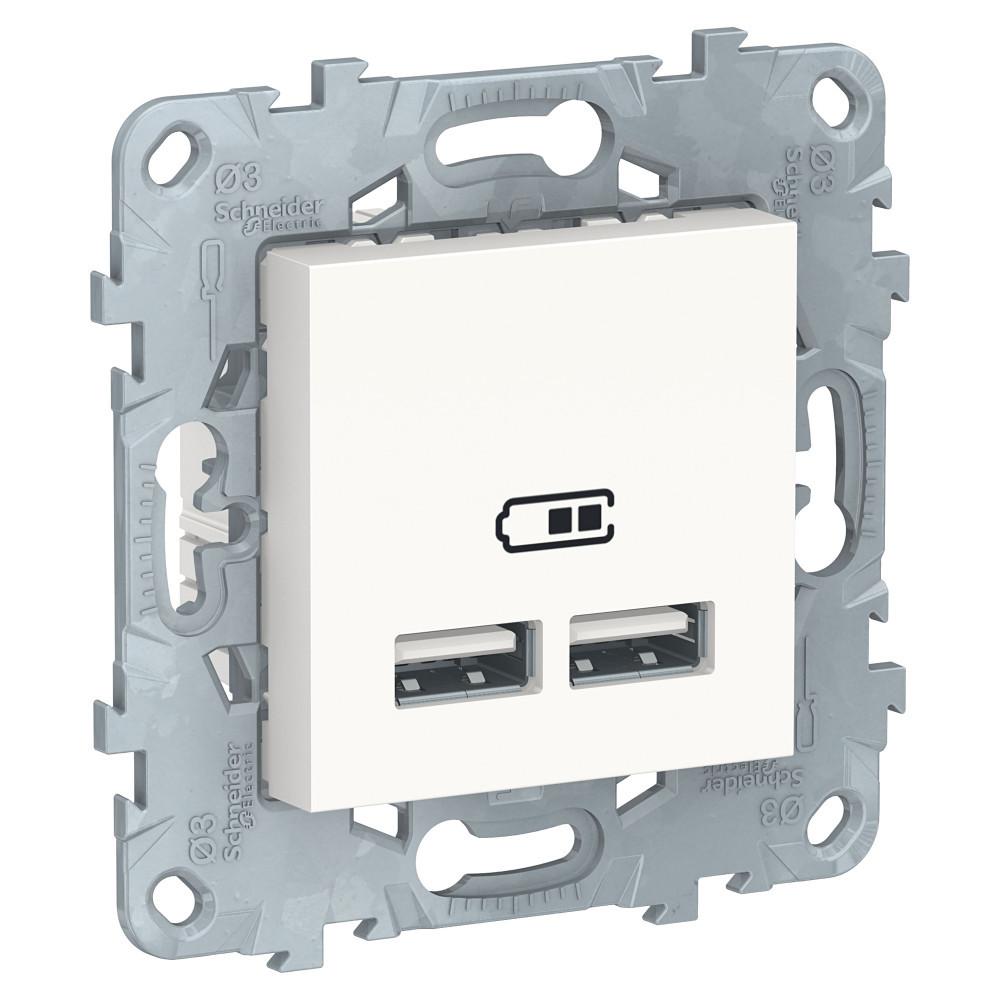 UN розетка USB, 2-местная, 2100 мА, белый /NU541818/