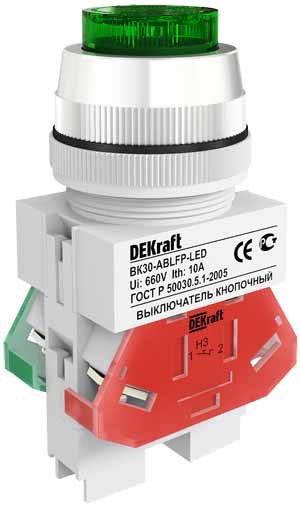 Выключатель кноп. ВК30-ABLFP-GRN-LED /25047DEK/