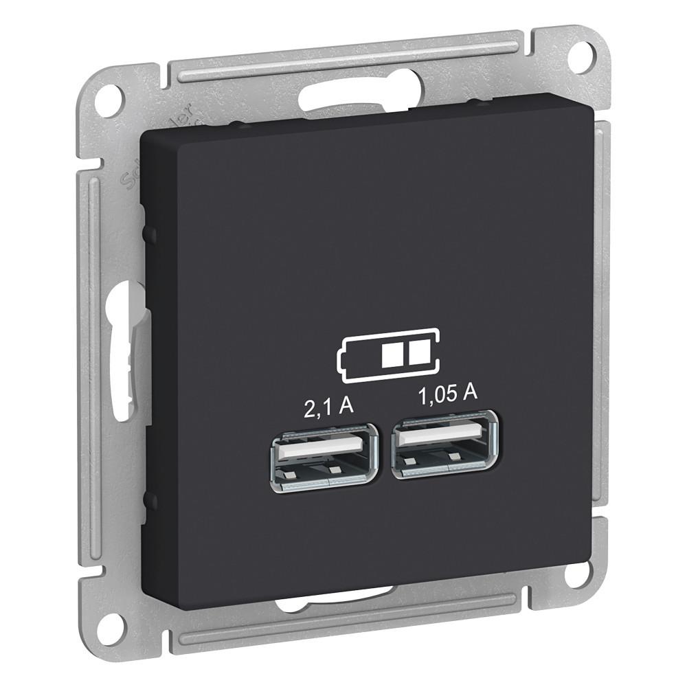 USB розетка А+А, 5В/2,1А мех, КАРБОН /ATN001033/