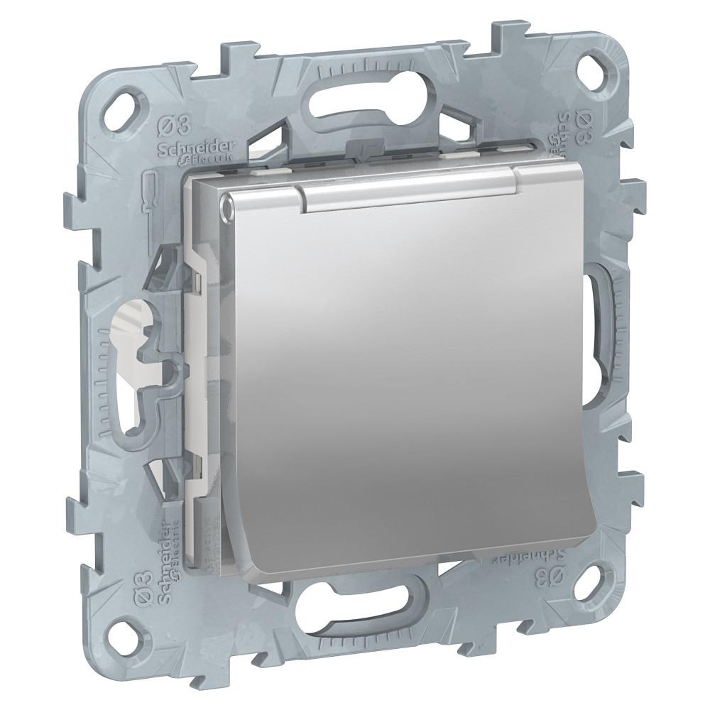 UN розетка с з/кл с/шторк, с крышкой, IP40, алюминий /NU503730TA/