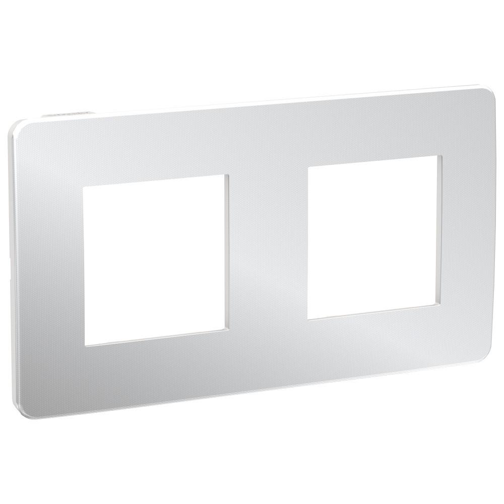 UNICA STUDIO рамка 2-поста, хром/белый /NU280455/