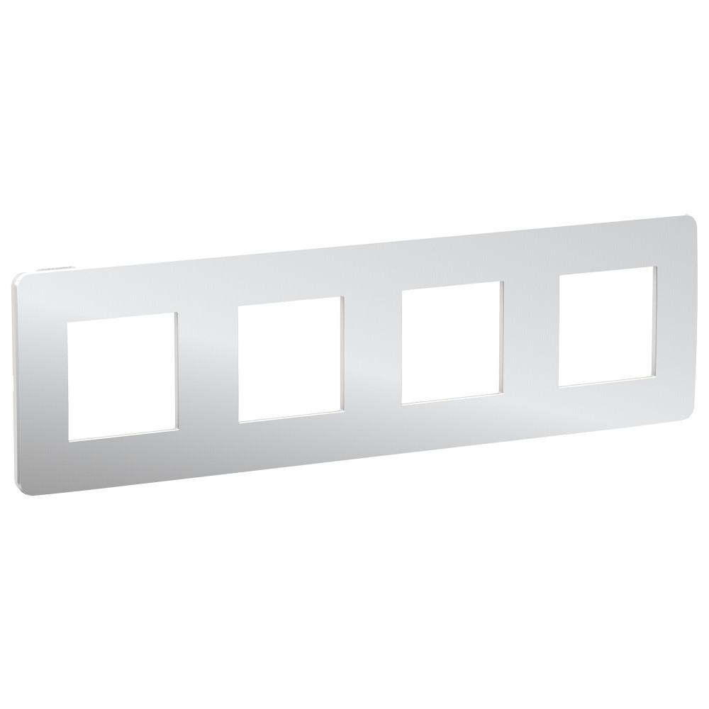 UNICA STUDIO рамка 4-поста, хром/белый /NU280855/