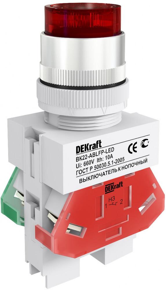 Выключатель кноп. BK22-ABFP-RED-LED /25136DEK/