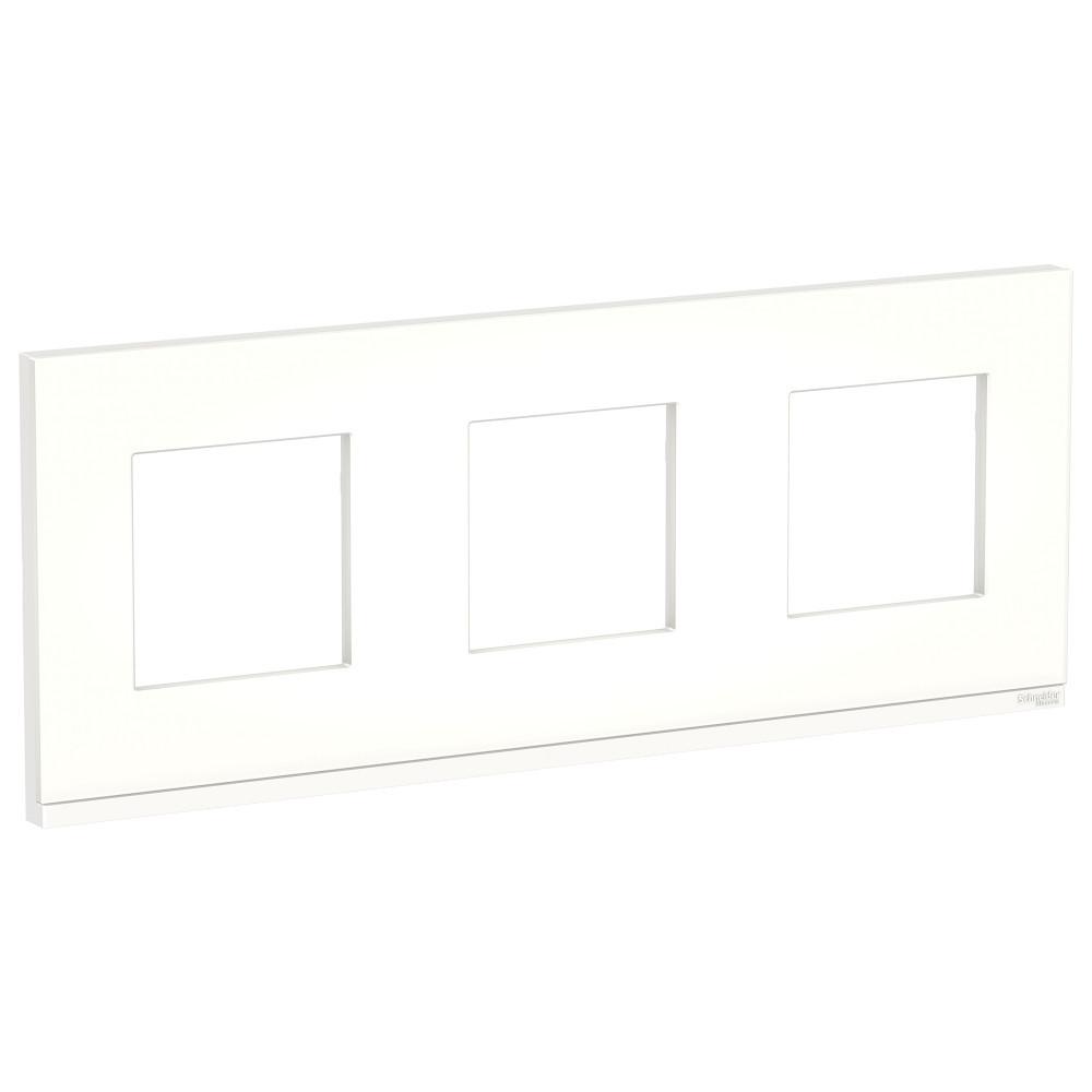 UNICA PURE рамка 3-п,гор, мат.стекло/бел /NU600689/