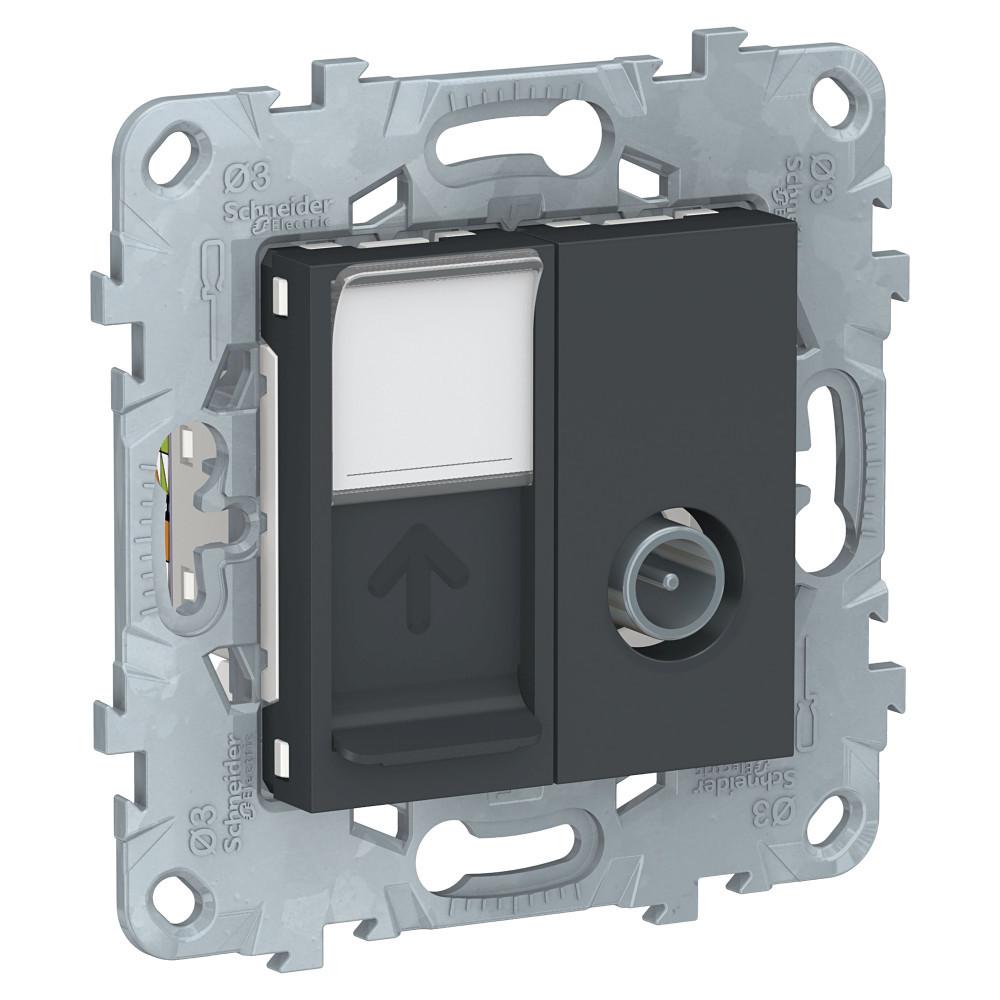 UN розетка TV+RJ45 кат.6 UTP 1 модуль антрацит /NU547054/