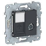 UN розетка TV+RJ45 кат.6 UTP 1 модуль антрацит /NU547054/, фото 2