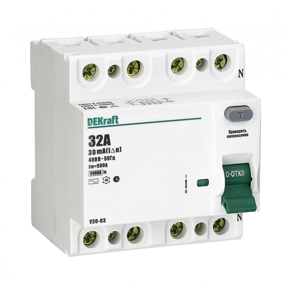 Выключатель диф.тока УЗО 03-4Р-025А-030 /14078DEK/