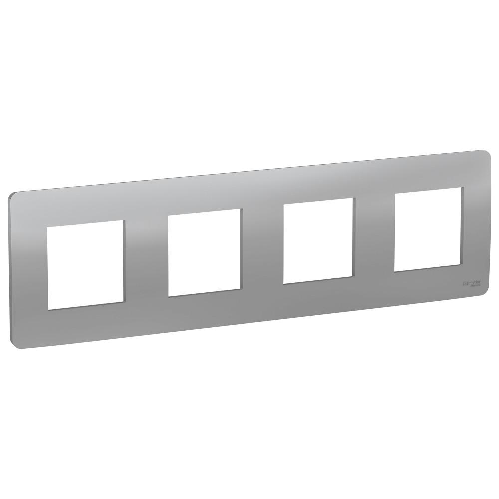 UNICA STUDIO рамка 4-постовая, алюминий /NU200830/