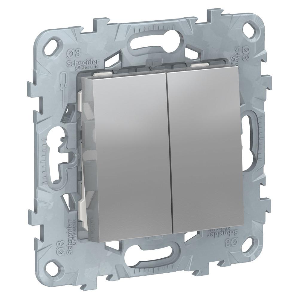 UN выключатель 2-клавишный, алюминий /NU521130/