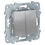 UN выключатель 2-клавишный, алюминий /NU521130/, фото 2