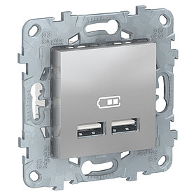 UN розетка USB, 2-местная, 2100 мА, алюминий /NU541830/