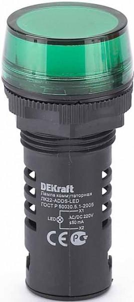 Лампа коммутационная ЛК22-ADDS-GRN-LED-220 /25118DEK/
