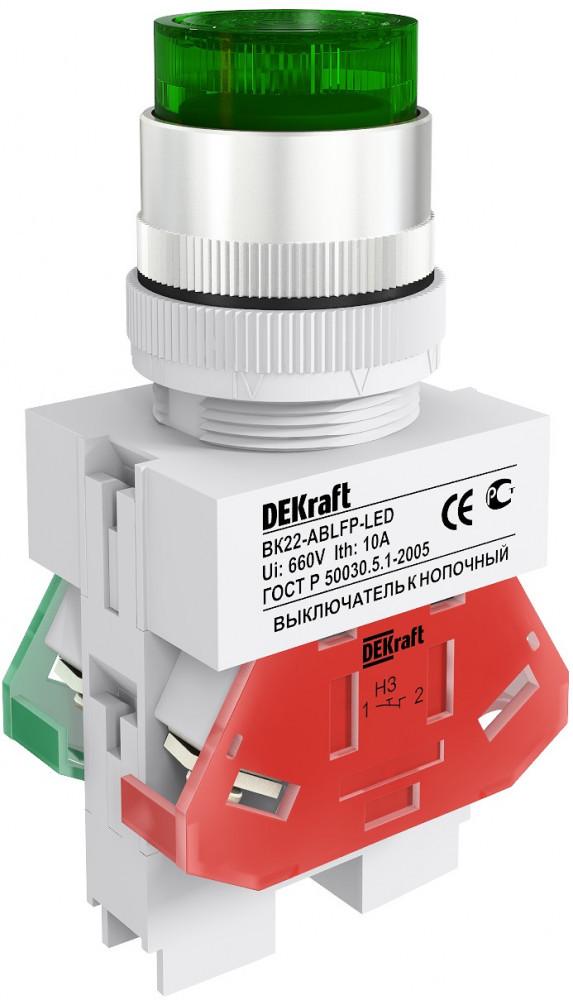Выключатель кноп. ВК22-ABFP-GRN-LED /25135DEK/