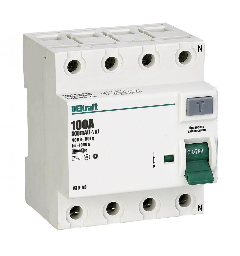 Выключатель диф.тока УЗО 03-4Р-100А-030 /14083DEK/