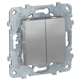 UN переключатель 2-клавишный алюминий /NU521330/