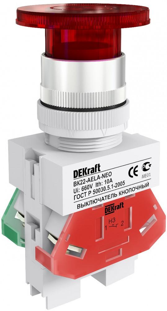 Выключатель кноп. ВК22-AELA-RED-LED /25030DEK/