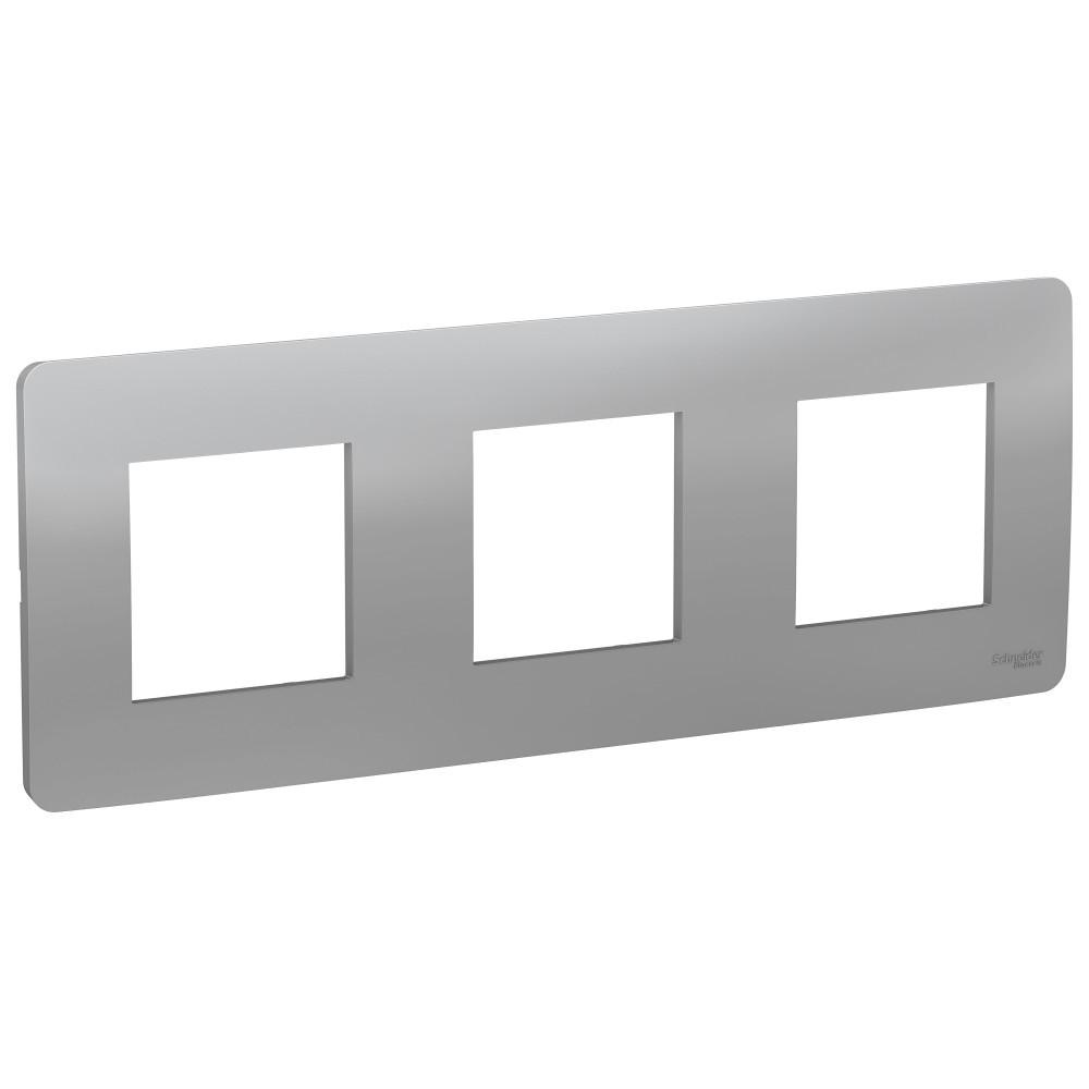 UNICA STUDIO рамка 3-постовая, алюминий /NU200630/