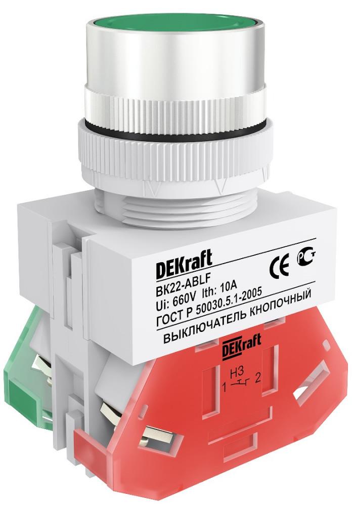 Выключатель кноп. ВК22-ABLF-GRN /25013DEK/
