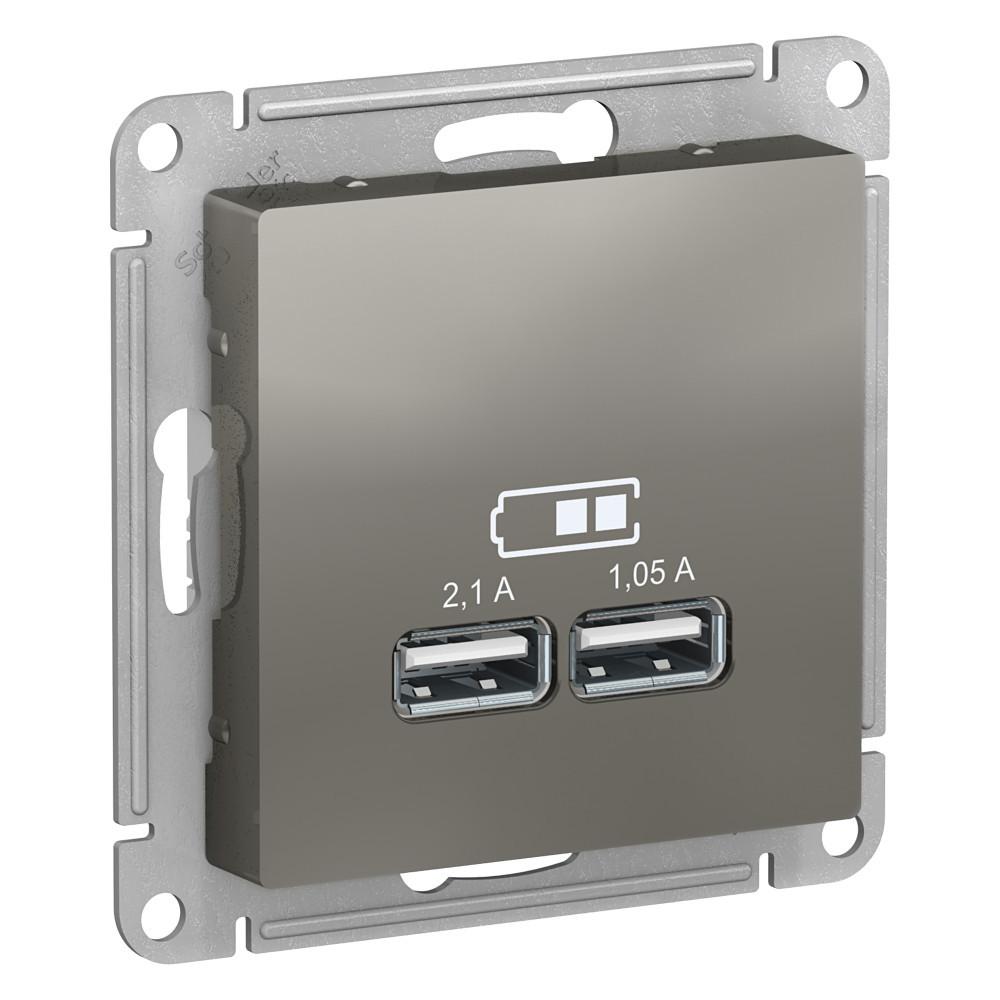 USB розетка А+А, 5В/2,1А мех, СТАЛЬ /ATN000933/