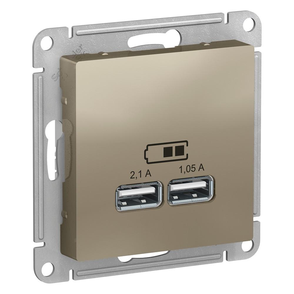 USB розетка А+А, 5В/2,1А мех, ШАМПАНЬ /ATN000533/