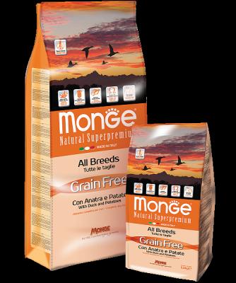 Беззерновой корм Monge Adult для собак всех пород (Утка с картофелем) - 12 кг