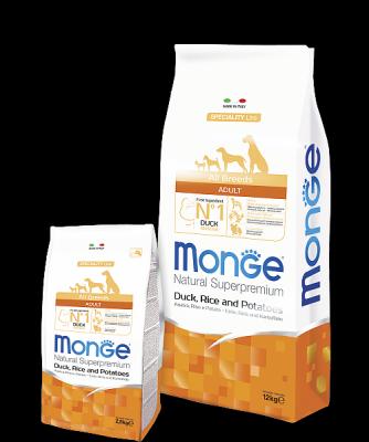 Гипоаллергенный корм Monge для взрослых собак всех пород (Утка, рис и картофель) - 2.5 кг