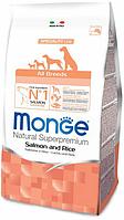 Корм Monge для взрослых собак всех пород (Лосось и рис) - 12 кг
