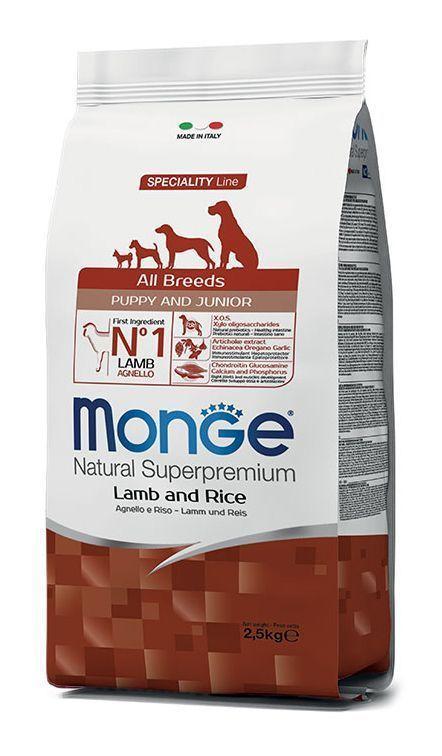 Корм Monge All Breeds Puppy&Junior для щенков и юниоров (Ягненок и рис) - 2.5 кг