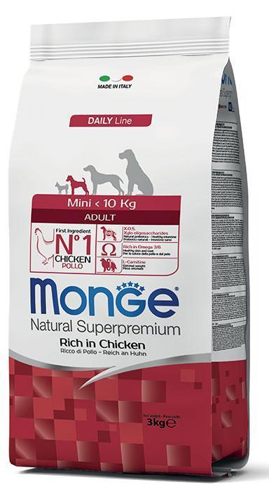 Корм Monge Mini Adult для взрослых собак мелких пород (Курица, рис) - 15 кг