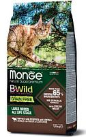 Беззерновой корм Monge BWild Buffalo with potatoes, lentils для кошек крупных пород (Буйвол) - 10 кг