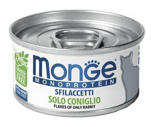 Консервы монопротеиновые Monge Monoprotein для взрослых кошек (Кролик) - 80 г