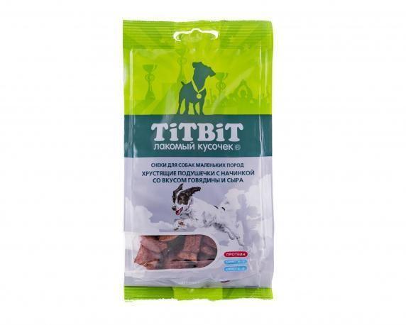 Хрустящие подушечки с начинкой для собак маленьких пород (Говядина и сыр), TitBit - 95 г