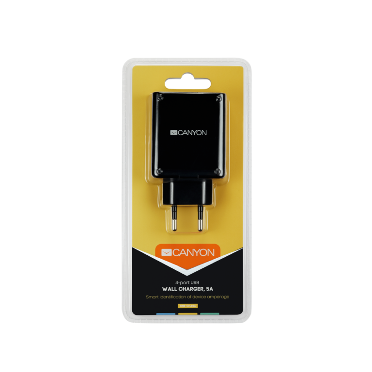 CANYON Universal 4xUSB AC charger (in wall) with over-voltage protection, Input 100V-240V, Output 5V - фото 2
