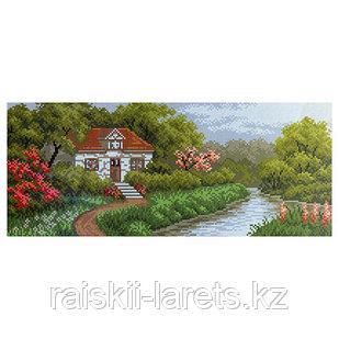 """Рисунок на канве для вышивания крестом """"Домик в саду"""" арт. 1208"""