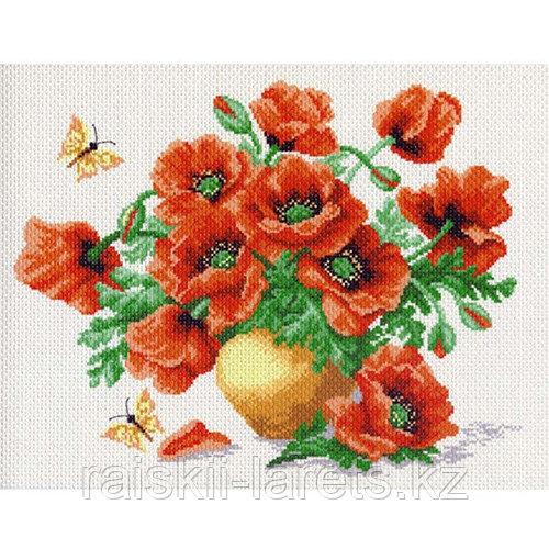 """Рисунок на канве для вышивания крестом """"Маки"""" арт. 0523"""