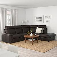 ЛИДГУЛЬТ 5-местный угловой диван, с открытым торцом, Гранн/Бумстад темно-коричневый, с открытым торцом