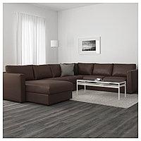 ВИМЛЕ 5-местный угловой диван, с козеткой, Фарста темно-коричневый, с козеткой/Фарста темно-коричневый