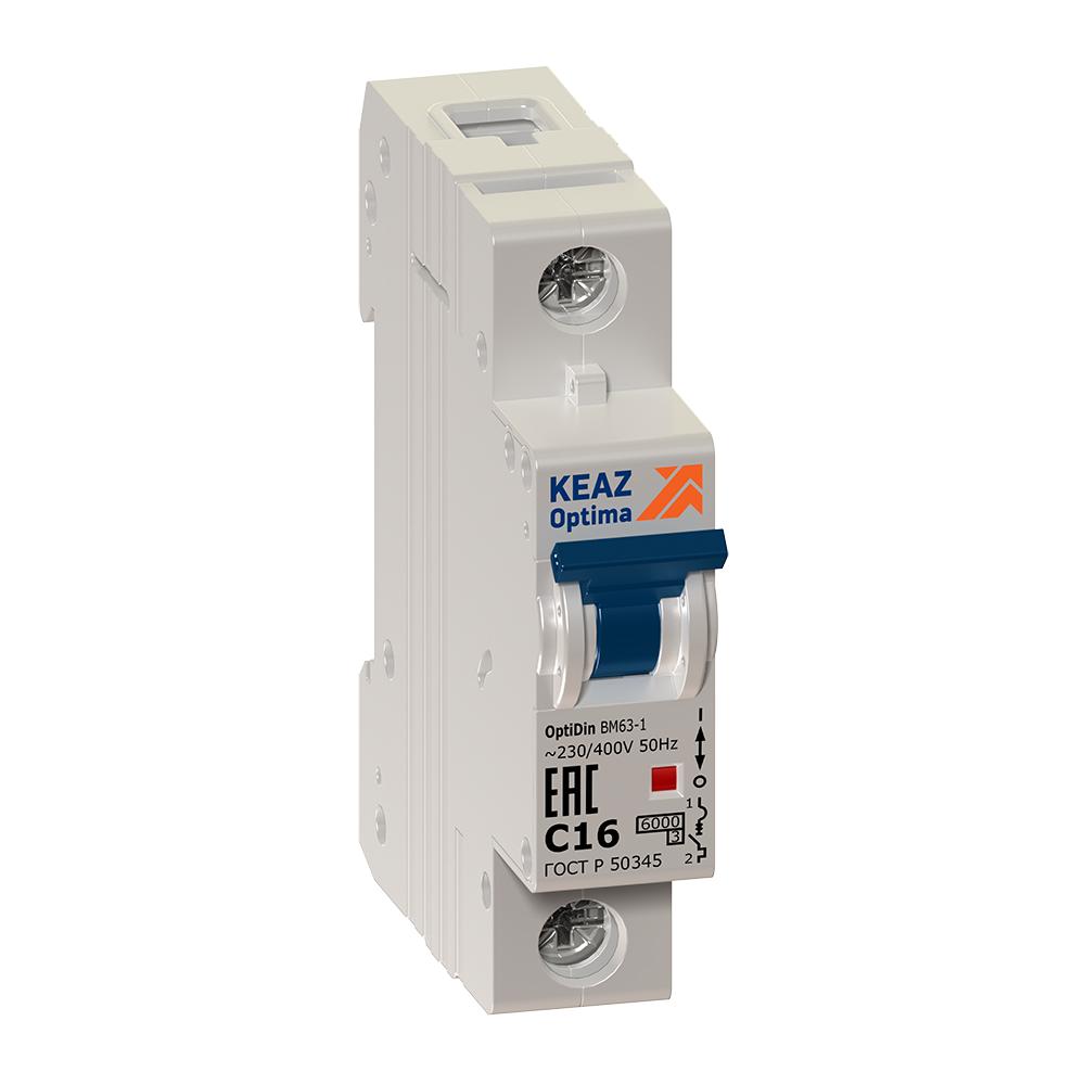 Выключатель автоматический модульный OptiDin ВМ63-1С63-УХЛ3 (Новый) КЭАЗ