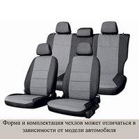 Чехлы сиденья Renault Sandero 2009-2014 раздел. задний ряд жаккард 12 предм. SKYWAY, т-серый