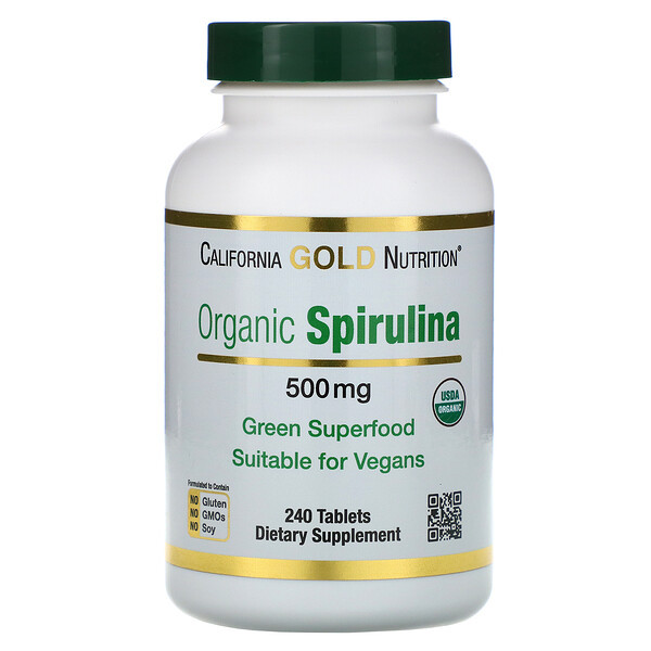 Органическая спирулина, 500 мг, 240 таблеток
