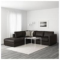 ВИМЛЕ 4-местный угловой диван, с открытым торцом, Фарста черный, с открытым торцом/Фарста черный