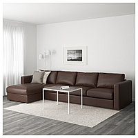 ВИМЛЕ 4-местный диван, с козеткой, Фарста темно-коричневый, с козеткой/Фарста темно-коричневый
