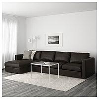 ВИМЛЕ 4-местный диван, с козеткой, Фарста черный, с козеткой/Фарста черный