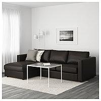 ВИМЛЕ 3-местный диван, с козеткой, Фарста черный, с козеткой/Фарста черный