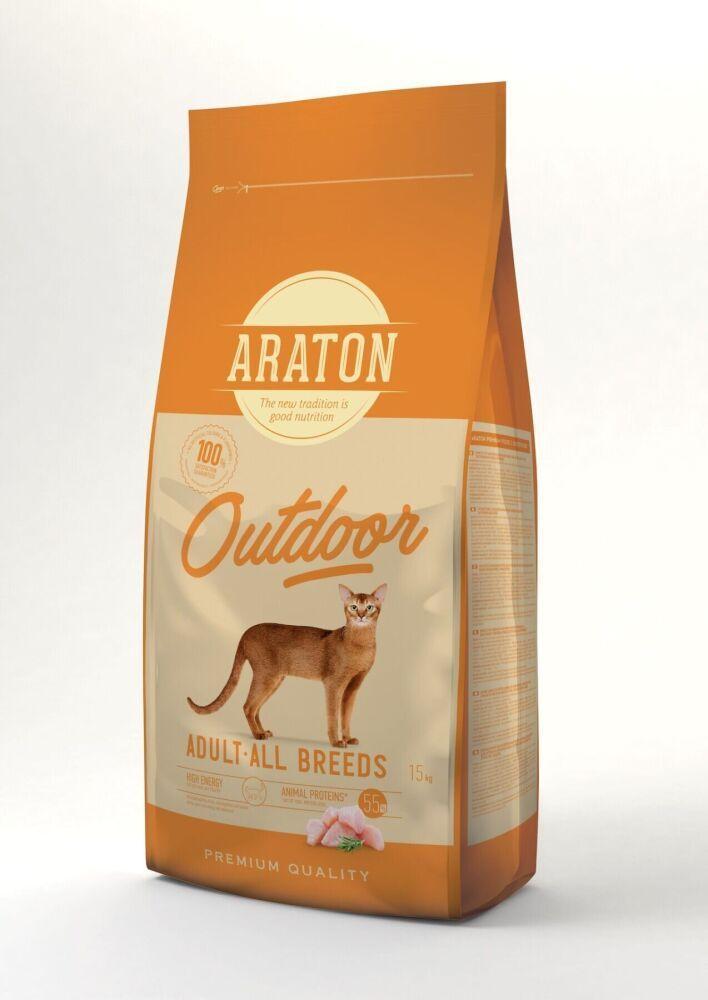 Корм Araton Adult Outdoor Cat Chicken&Turkey для активных взрослых кошек (Курица и индейка) - 15 кг