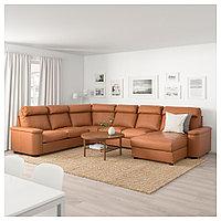 ЛИДГУЛЬТ Угловой 6-местный диван, с козеткой, Гранн/Бумстад золотисто-коричневый, с козеткой/Гранн/Бумстад зол