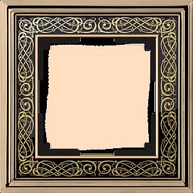 Рамка на 1 пост /WL77-Frame-01 (золото/черный)