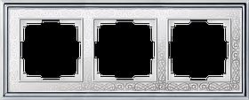 Рамка на 3 поста /WL77-Frame-03 (хром/белый)
