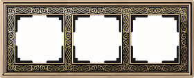 Рамка на 3 поста /WL77-Frame-03 (золото/черный)